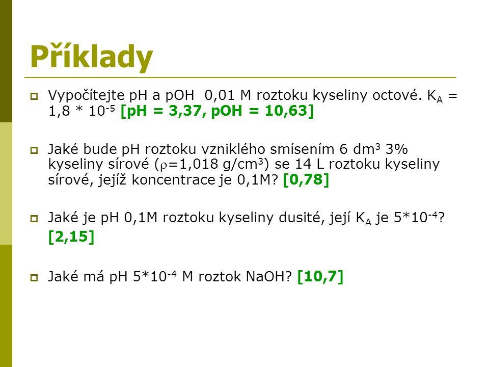 Příklady Vypočítejte pH a pOH 0,01 M roztoku kyseliny octové. KA = 1,8 * 10-5 [pH = 3,37, pOH = 10,63]